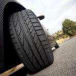 Tire of a black sport car